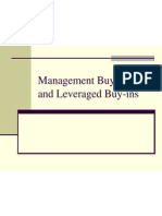 Management Buy-Outs and Leveraged Buy
