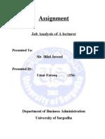 Purpose of the Job