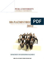 Tripura University MBA Placement Brochure