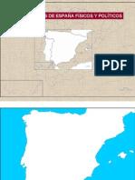 Mapas mudos de España físicos y políticos.