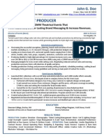 Show Producer Sample Resume from Freedom Resumes