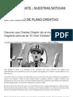 """Discurso que Charles Chaplin dio al mundo en su magistral película de """"El Gran Dictador"""""""