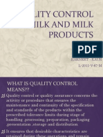 Quality Control of Milk and Milk Products