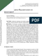 Effects of Habitat Fragmentation on - Karen