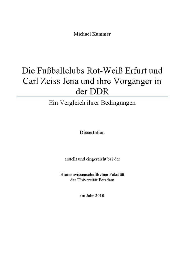 Michael Kummer DDR Fußball Doping