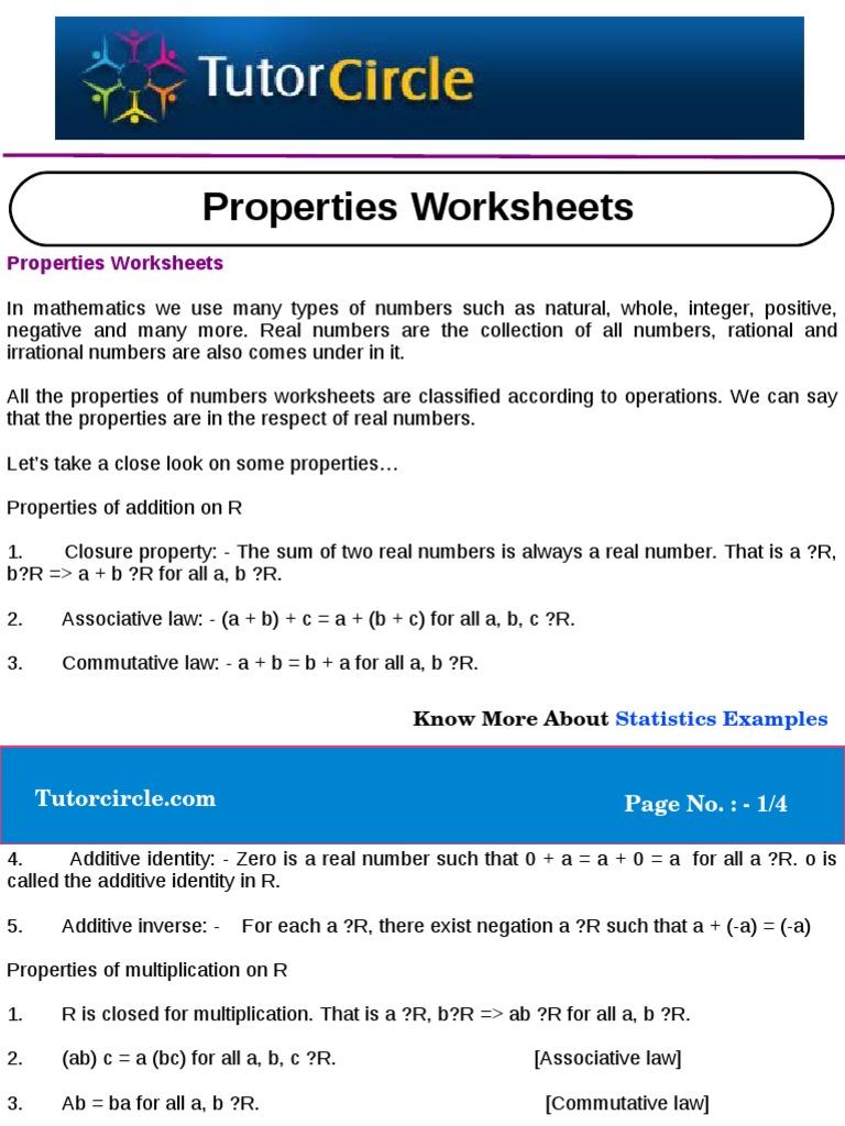 Properties Worksheets | Real Number | Numbers