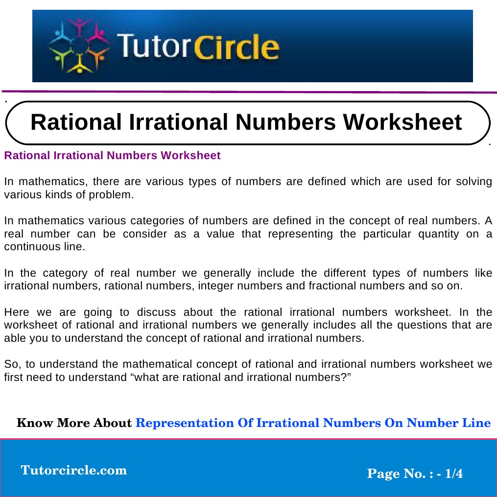 Rational Irrational Numbers Worksheet | Numbers | Rational Number