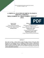 Hart, Karen E a Critical Analysis of John B Watson-Original Writing