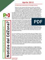 Newsletter di APRILE 2012 del Gruppo Consiliare PD di Zona 7-Milano