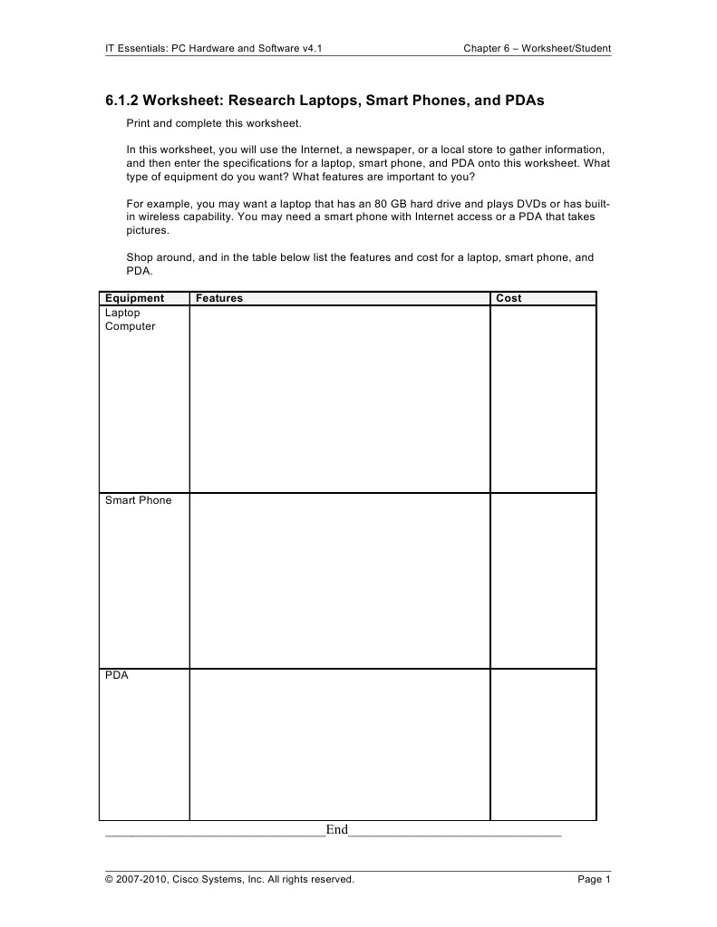 Chapter6 Worksheets Personal Digital Assistant Personal Computers