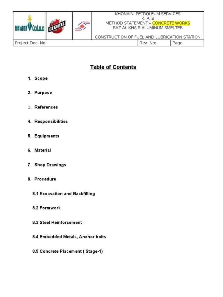 Method Statement Samples Civil Works – Blank Method Statement