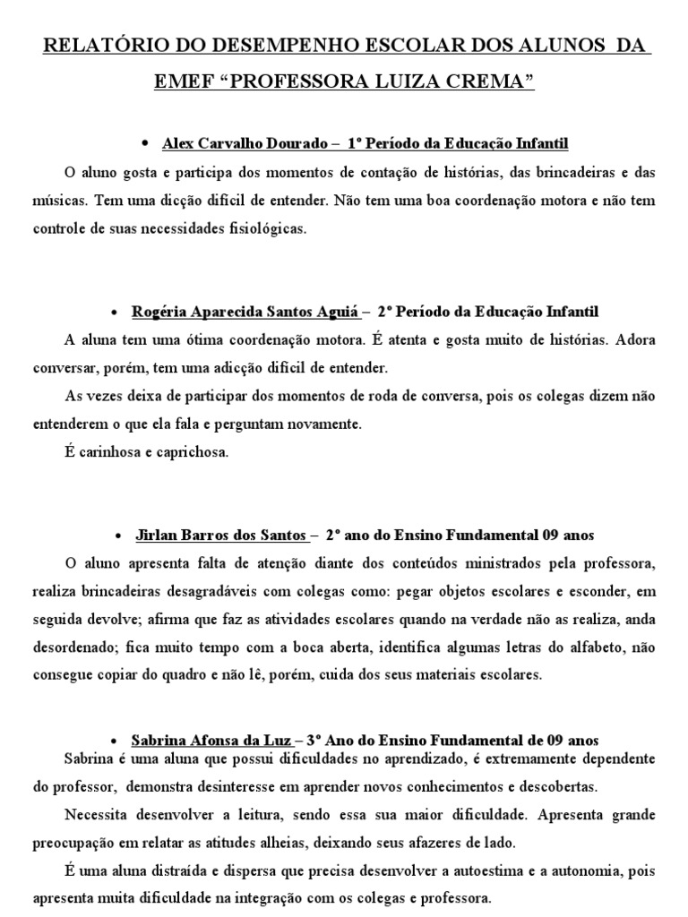 Populares Relatórios do desempenho escolar dos alunos BH94