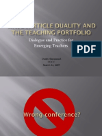 Wave Particle Duality and the Teaching Portfolio
