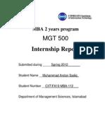 Internship Report Arslan