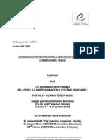 SUR LES NORMES EUROPÉENNES RELATIVES À L'INDÉPENDANCE DU SYSTÈME JUDICIAIRE  PARTIE II – LE MINISTÈRE PUBLIC