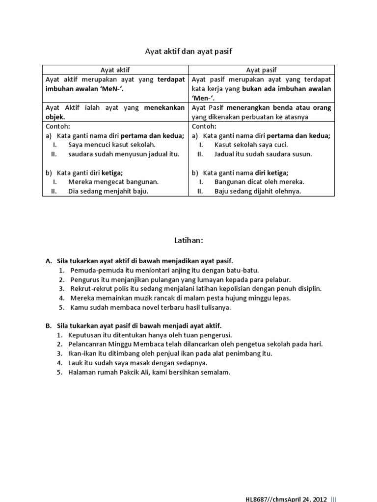 Ayat Aktif Dan Ayat Pasif Note Plus Latihan 9sc2 240412 Selasa