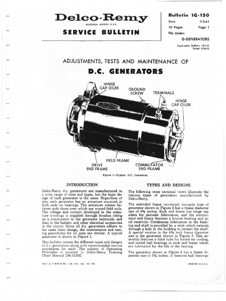 Delco Gen Electric Generator Motor Oil Early Starter Wiring Diagram
