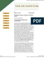 Bangladesh Economy- Problems & Prospects- Part II