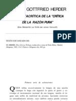 """J. G. Herder - Una Metacrítica de """"la Crítica de la Razón Pura"""""""