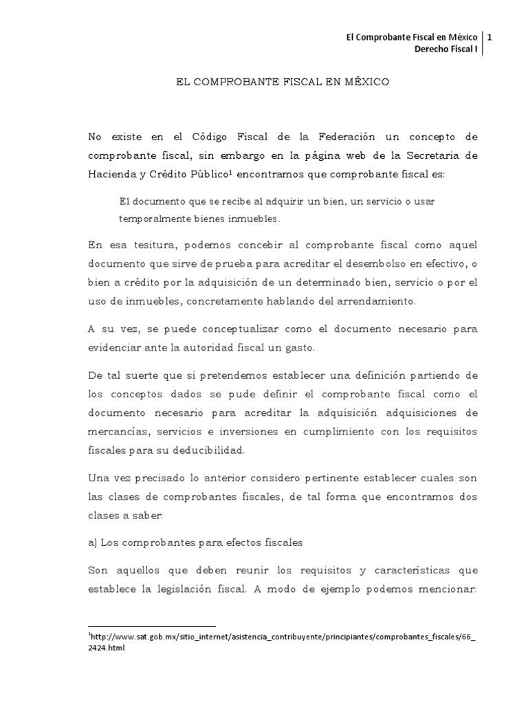 El Comprobante Fiscal En México