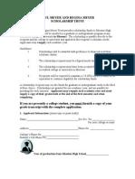 Paul Meyer and Regina Meyer Scholarship Application 2012