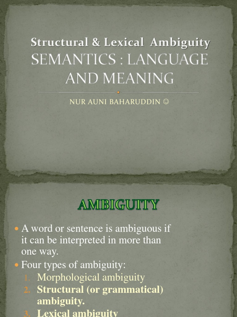 what is lexical ambiguity