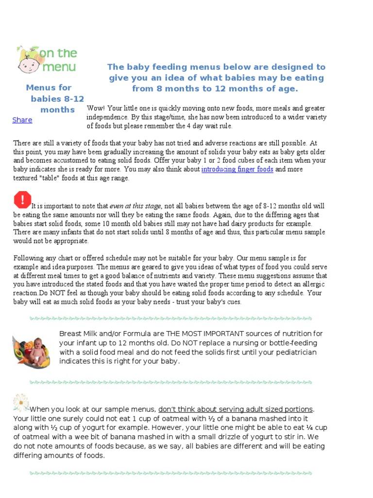food chart n recepies for 8 month old babies | breastfeeding | infants