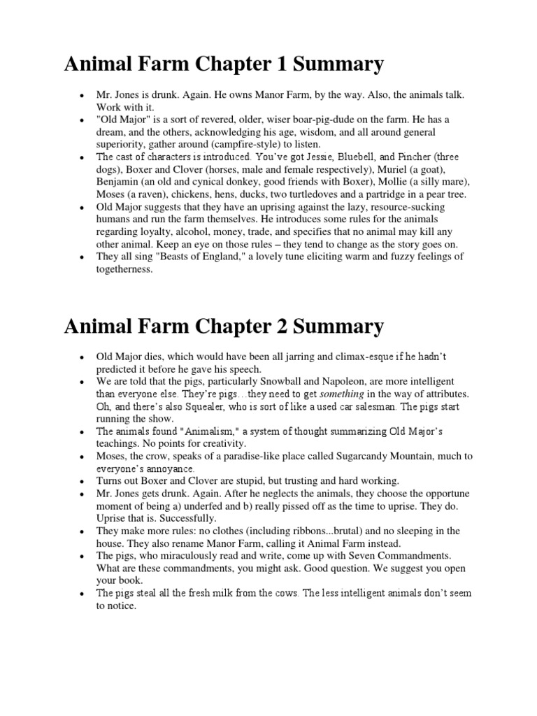 animal farm chapter summary animals and humans
