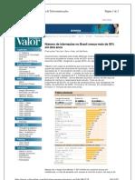 noticia jornal valor - número de internautas no brasil cresce mais de 50% em dois anos