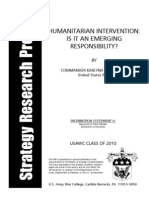 Humanitarian Intervention - Is It an Emerging Responsibility