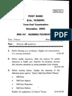 IGNOU BSc Nursing(PB) Question Paper (1st Year)-2005