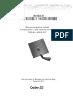 Québec - Comité consultatif sur l'accessibilité financière aux études - Hausses des droits de scolarité et modifications à l'aide financière aux études 2012-2013 à 2016-2017 - Septembre 2011