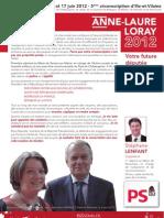 Profession de foi d'Anne-Laure Loray - Candidate du Parti Socialiste aux élections législatives sur la cinquième circonscription d'Ille-et-Vilaine