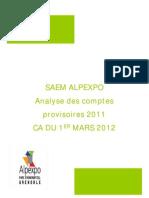 ALPEXPO Synthèse comptes provisoires 2011