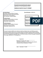 Hazardous Waste Facility Permit Issued to the Southern California Edison Company