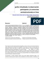 Etnografía virtualizada la observacion participante y la entrevista semiestructurada en linea