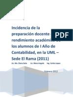 INCIDENCIA DE LA PREPARACION DOCENTE EN EL RENDIMIENTO ACADEMICO