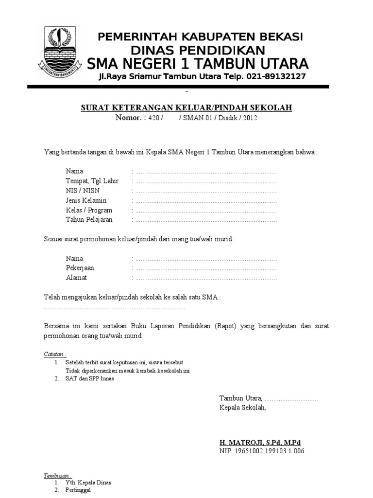 Contoh Surat Pernyataan Orang Tua Siswa Pindah Sekolah