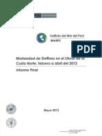 Informe Del Imarpe Sobre La Mortantad de Delfines en La Costa Peruana