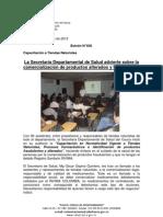 Boletín 036_La Secretaría Departamental de Salud advierte sobre la comercialización de productos alterados y fraudulentos
