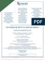 An Evening with Gov. Mitt & Ann Romney for Romney for President