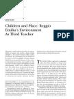 Children and Place Reggio Emilia Environment as Third Teacher