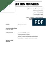 Compte-rendu du Conseil des ministres du 23 Mai 2012