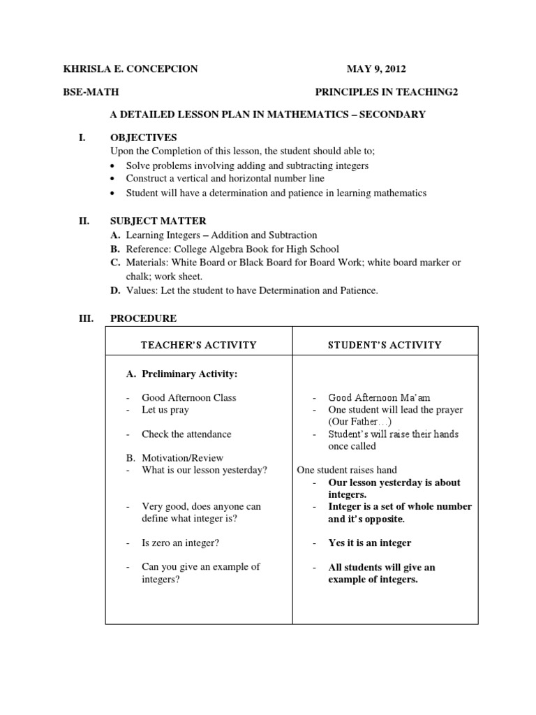 A Detailed Lesson Plan In Mathematics | Subtraction | Integer