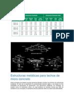 Estructuras metálicas para techos de micro concreto