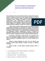 Carta abierta de Fieles del  SUR ANDINO en solidaridad con G GARATEA