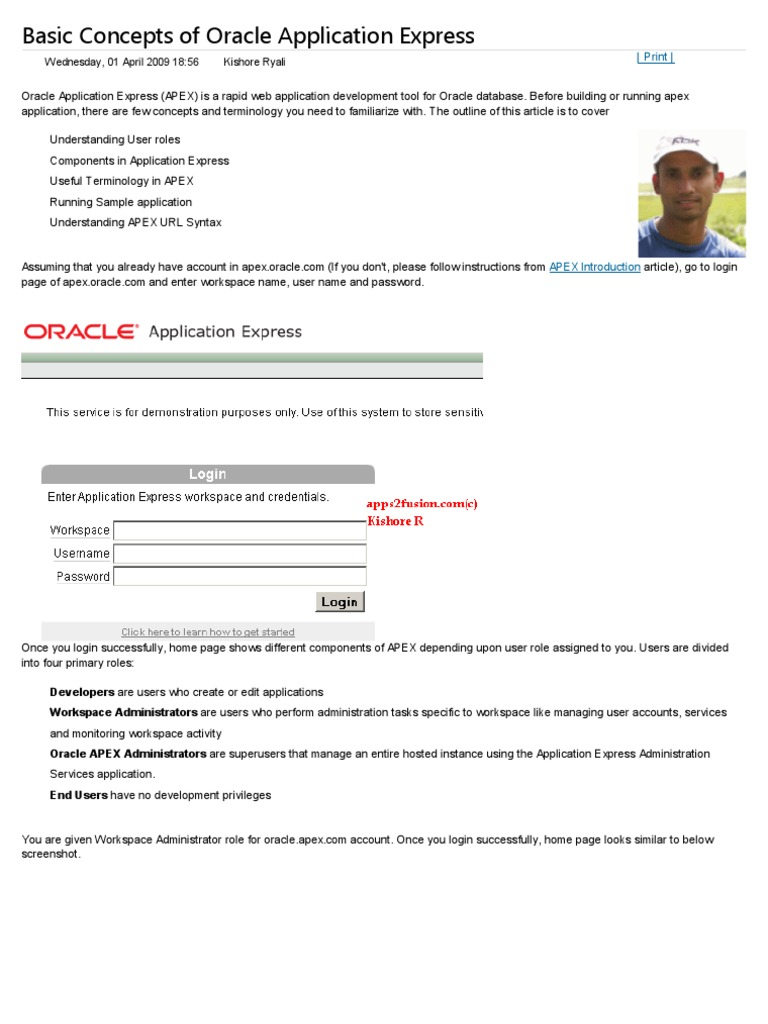 Basic Concepts of Oracle Application Express   Oracle