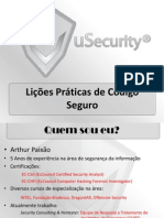 Lições Praticas de Código Seguro - uSecurity