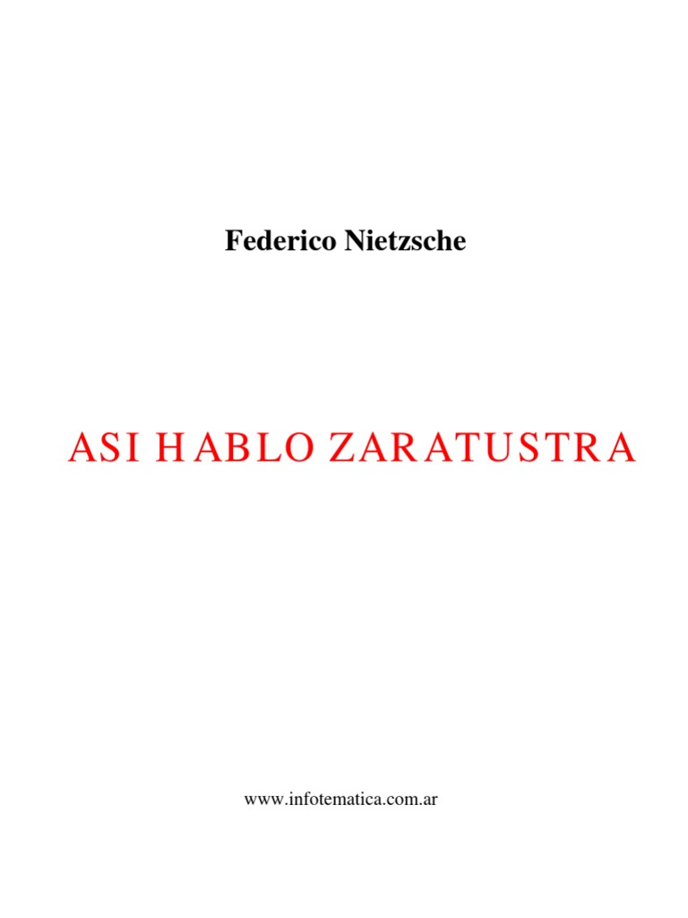 Asi Hablo Zaratustra Friedrich Nietzsche Así Habló