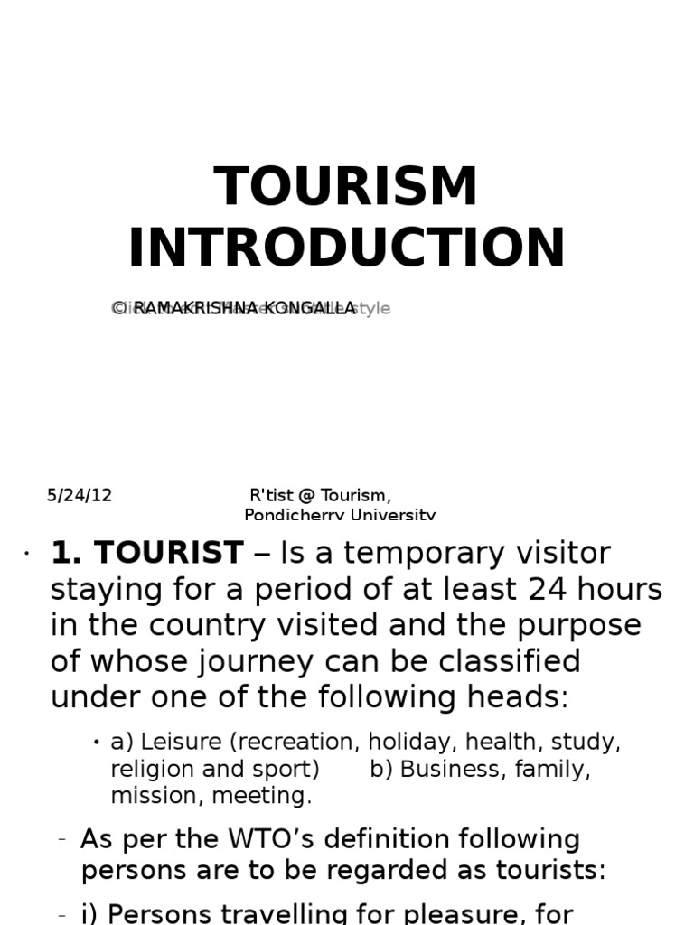 definition of visitor in tourism